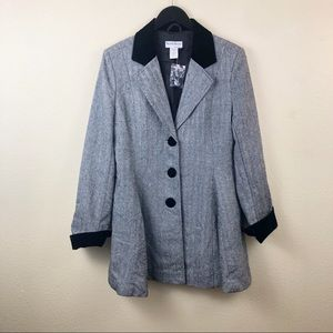 NortStyle Herringbone Overcoat Black White Buttons